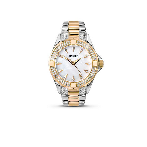 Seksy - Ladies mother of pearl two-tone bracelet watch
