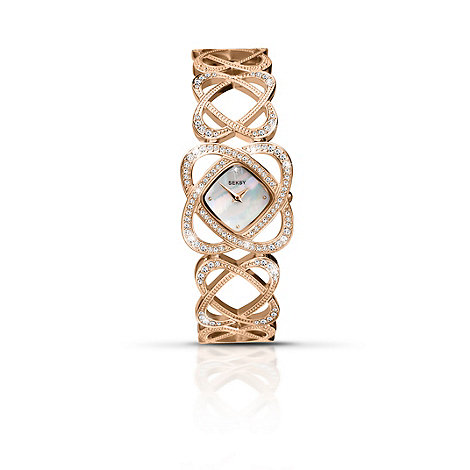 Seksy - Ladies mother of pearl rose gold plated bracelet watch