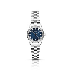 Sekonda - Ladies round silver stone set bracelet watch