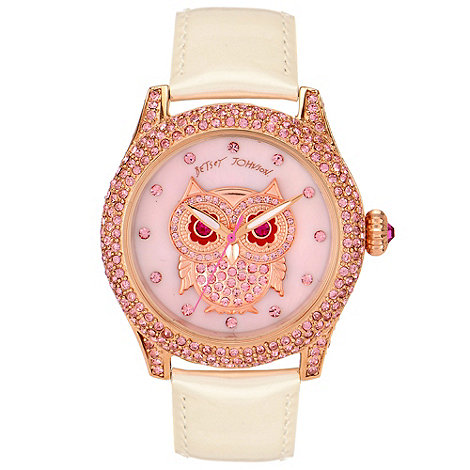 Betsey Johnson - Ladies stone set owl dial white patent leather strap watch