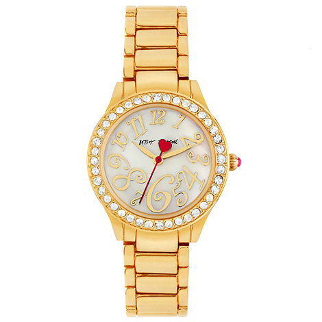 Betsey Johnson - Ladies stone set gold tone bracelet watch