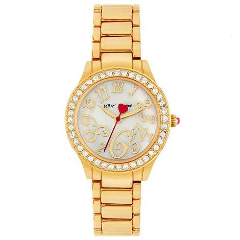 Betsey Johnson - Ladies stone set gold tone bracelet watch