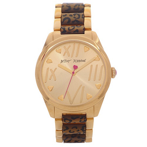 Betsey Johnson - Ladies gold plated leopard print link bracelet watch