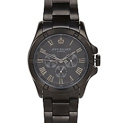 Jeff Banks - Men's designer black multi function rivet case watch