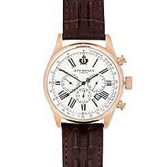 Jeff Banks - Men's designer brown croc strap chronograph watch