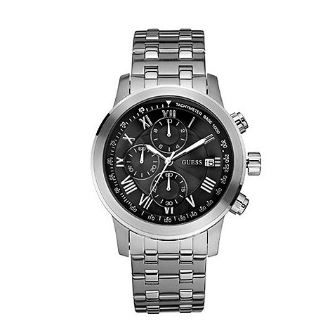 Guess - Men+s  silver coloured round chronograph dial bracelet watch