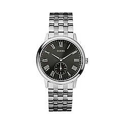 Guess - Mens silver bracelet watch with black dial w80046g1