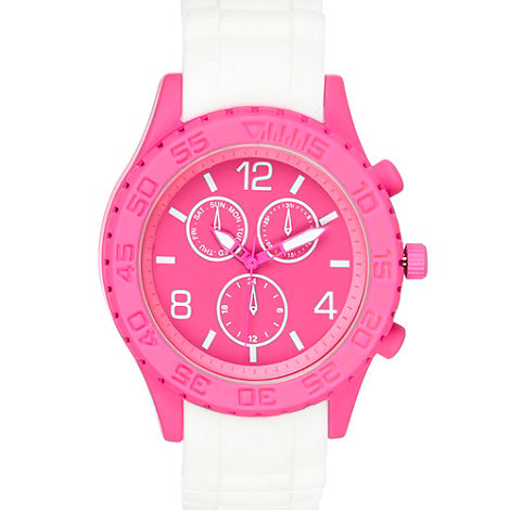 Red Herring - Ladies white contrast face silicone watch