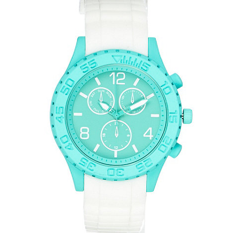 Red Herring - Ladies white contrast silicone watch
