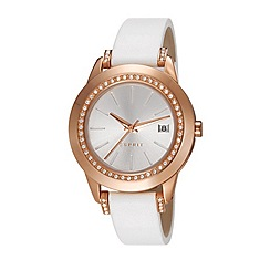 Esprit - Ladies stainless steel watch with crystals and leather strap