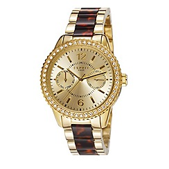 Esprit - Ladies stainless steel tortoise shell multifunction bracelet watch