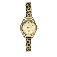 O.W.L - Ladies 'Cambridge' gold watch with printed mesh bracelet