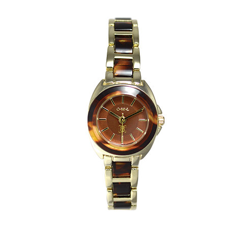 O.W.L - Ladies +Chelsea+ gold watch with resin bezel and bracelet links
