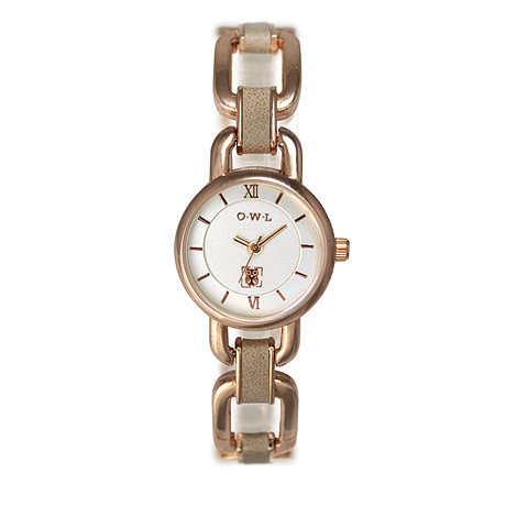 O.W.L - Ladies 'Hampton' gold watch with tan leather bracelet links