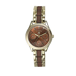 O.W.L - Ladies 'Kensington'gold sports watch with brown leather