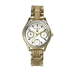 O.W.L - Ladies 'Kensington' gold sports watch with camel leather