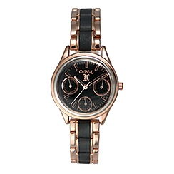 O.W.L - Ladies 'Kensington' rose gold sports watch with black leather