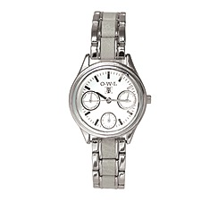 O.W.L - Ladies 'Kensington' silver sports watch with grey leather