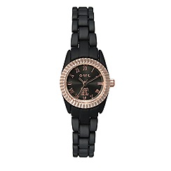 O.W.L - Ladies 'Oxford' black silicone coated bracelet watch