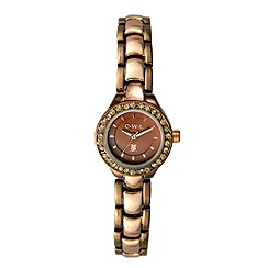 O.W.L - Ladies 'Sandringham' brown and rose gold bracelet watch with Swarovski crystals
