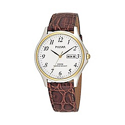 Pulsar - Men's brown leather strap watch with date function