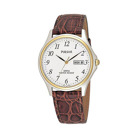 Pulsar - Men+s brown leather strap watch with date function