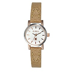O.W.L - Ladies 'Windsor' silver and rose gold watch with tan leather strap