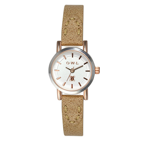 O.W.L - Ladies +Windsor+ silver and rose gold watch with tan leather strap