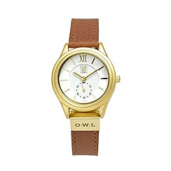 O.W.L - Ladies 'York' gold case on brown leather strap