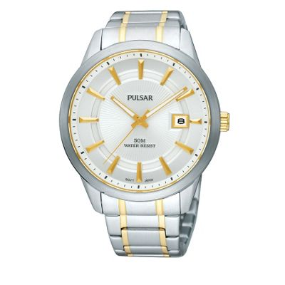 Pulsar Mens two tone round dial bracelet watch product image