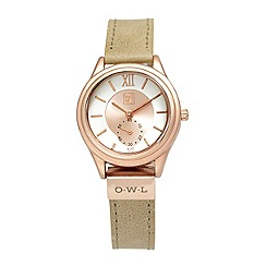 O.W.L - Ladies 'York' rose gold case on nude leather strap