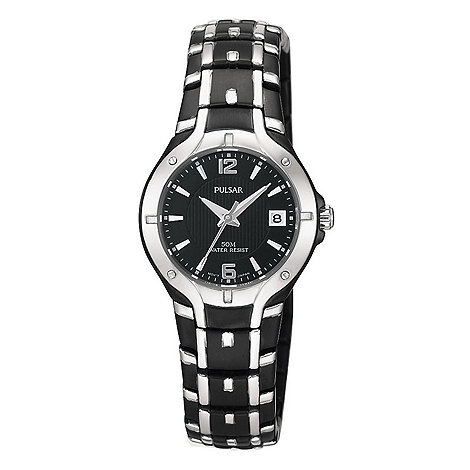 Pulsar - Ladies black round dial bracelet watch with date function