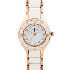 J by Jasper Conran - Designer ladies white rose gold enamel watch
