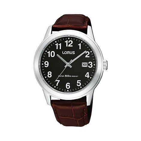 Lorus - Men+s black round dial silver case watch rh927bx9