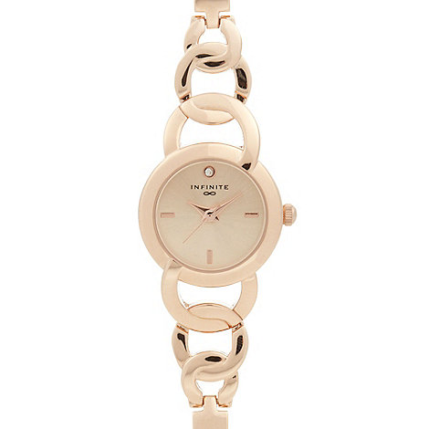 Infinite Ladies rose gold circle link watch | Debenhams