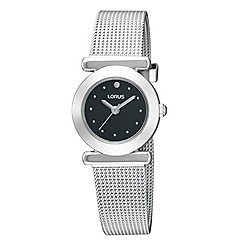 Lorus - Ladies silver coloured black dial mesh strap watch
