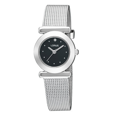 Lorus - Ladies silver coloured black dial mesh strap watch rrs51rx9