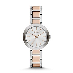 DKNY - Ladies silver and rose 'Stanhope' watch