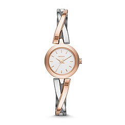 DKNY - Ladies silver and rose gold 'Crosswalk' watch