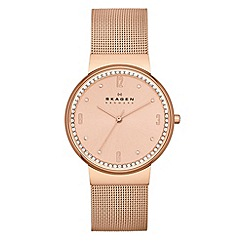 Skagen - Ladies 'Klassik' three hand rose gold tone watch