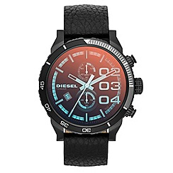 Diesel - Men's iridescent crystal lens chronograph leather strap watch