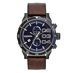 Diesel - Men's dark blue dial chronograph leather strap watch