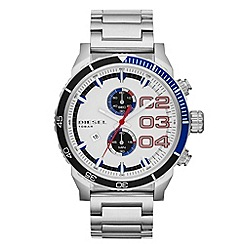 Diesel - Men's black and blue bezel chronograph silver bracelet watch