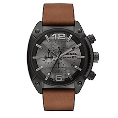 Diesel - Men's black dial chronograph leather strap watch