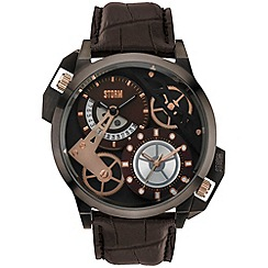 STORM - Men's brown dial dual time leather strap watch