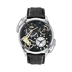 STORM - Men's black dial dual time leather strap watch