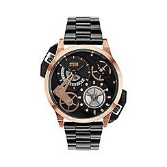STORM London - Men's black dial with rose gold features dual time bracelet watch