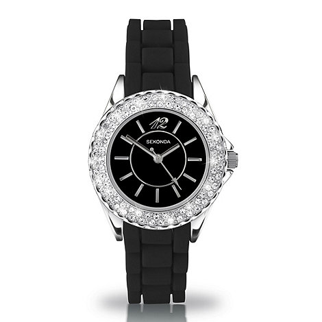 Sekonda - Ladies +partytime+ black dial watch with diamante bezel