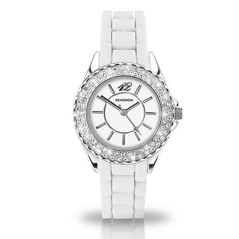 Sekonda - Ladies +partytime+ white dial watch with diamante bezel
