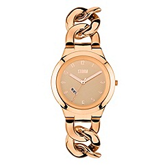 STORM - Ladies rose gold dial chain link bracelet watch